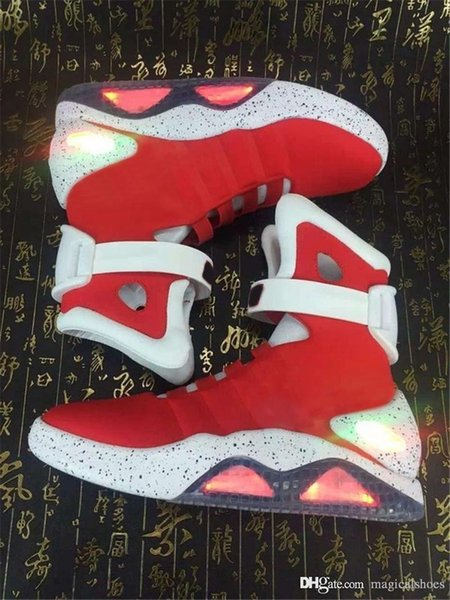 Auto Laces AIR MAG Boots Back Future led shoes high Marty fLy Colorful Led Shoes men Luxury Grey Black charger Mag Limited Edition Sneakers
