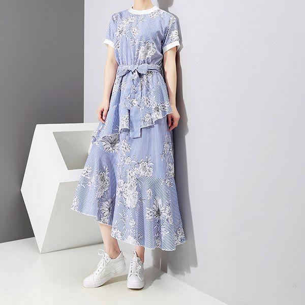 Nuovo vestito da estate di stile coreano per le donne Moda stampa floreale vestito personalità cuciture irregolari di Beach Skirt alta qualità all'ingrosso