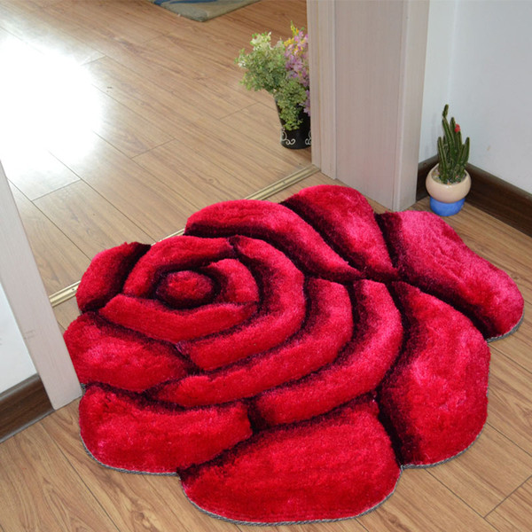 Simple Fashionable 3D Rose Carpet Bedroom Living Room Wedding Room Bedside Blanket Entrance Door Mat Bedroom Decoration Home Rug Floor Mat