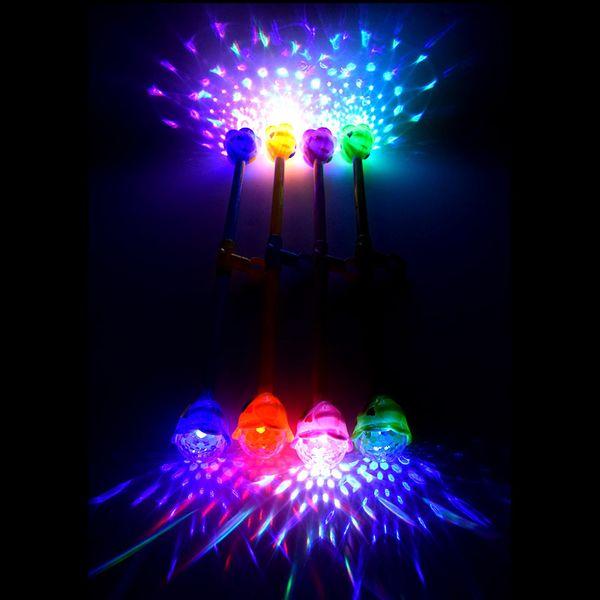 2017 Glow Magic Wand Flashing Luminous Musical Toy Color Random Rotating Projection Luminous Magic Flash Stick