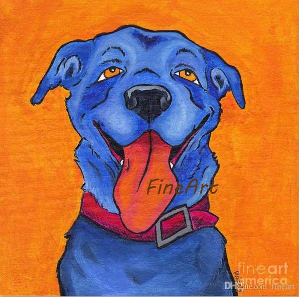 Acheter Discount Toile Abstrait Bleu Chien Peinture à L Huile Animal Toile Art Décor Mural Décoration De Toile Peintures Pour Chambres D Enfants