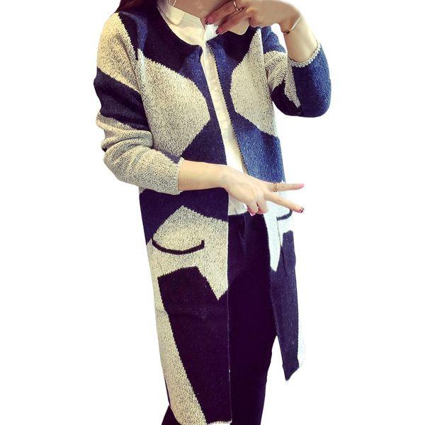 Long Cardigan Mujeres coreano Nueva Otoño Invierno Moda Jumper Hit Color Patrón Geométrico Suéter Chaqueta de punto Vestidos LXJ327