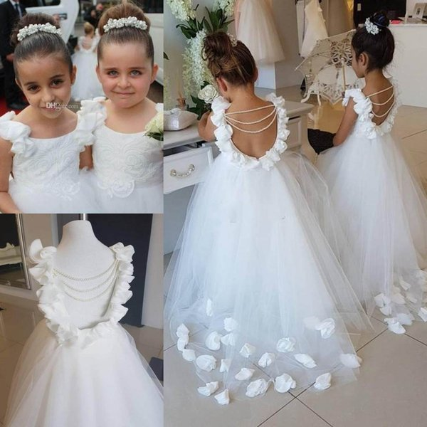 best selling Lovely White Flower Girls Dresses For Weddings Scoop Ruffles Lace Tulle Pearls Backless Princess Children Wedding Birthday Party Dresses