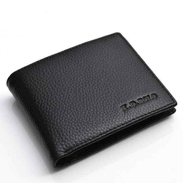 Men Real Soft Leather Vintage Wallet Short Leather Wallet Vertical Bi-fold Wallet Black Coffee Color Nice Gift R044