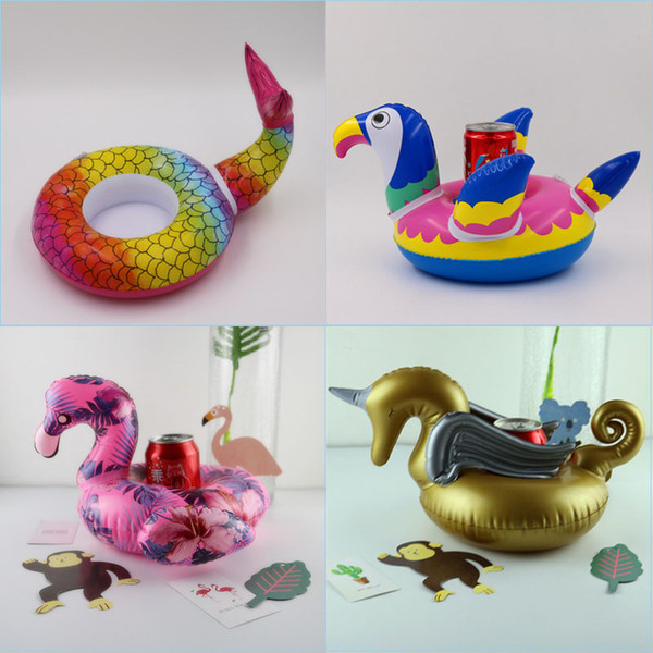 Inflatable Drink Cup Holder Mermaid Tail,Golden Pegasus, Colorful Parrot,Jumbo Flamingo Cup Holder Inflatable Pool Float Coaster Toys