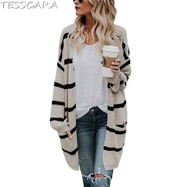 TESSCARA Women Autumn Striped Long Cardigan Female Casual Jacket Coat Tricot Knitted Sweater Outerwear & Coats Plus Size S-3XL