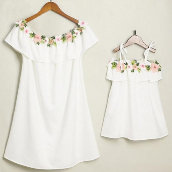 Mutter Tochter Kleider Blume Outfits Mädchen Strand Kleidung Mutter und Tochter Kleid Infant Baby Pyjamas Familie passende Kleidung