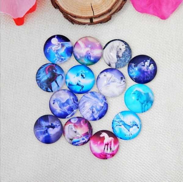 50pcs 2018 HOT selling Magic unicorn galss Snap button Charm Popper for Snap Jewelry picture pendant