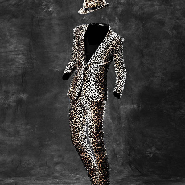 New Fashion Mens Slim Fit One Button Blazers For Man Top Quality Brand Nightclub Leopard Jacket Suits Pants Show Coats