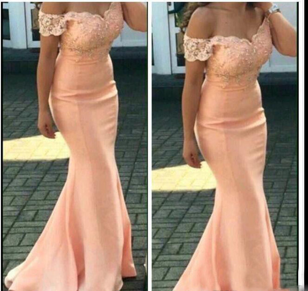 2018 New Peach Bridesmaid Dresses For Weddings with Cap Sleeves Floor Length Lace Appliques Mermaid Formal Maid of Honor Gowns Plus Size