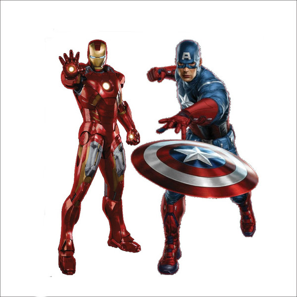 Avengers Wall Art Stickers Iron man Captain Mural Wallpaper Kids Room Wall Decor Removable Wall Decals