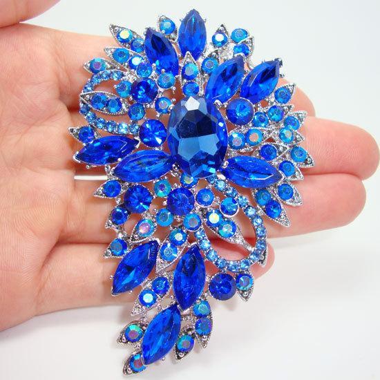 sodimm Vintage Style Flower Oval Brooch Rhinestone Crystal Blue Pendant supplies pin sodimm