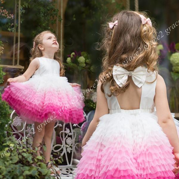 Compre 2018 Ins Ombre Vestidos Para Niñas De Flores Con Volantes Falda Ojo De La Cerradura Atrás Cuadros Reales Princesa Vestido Para Niñas Pequeñas