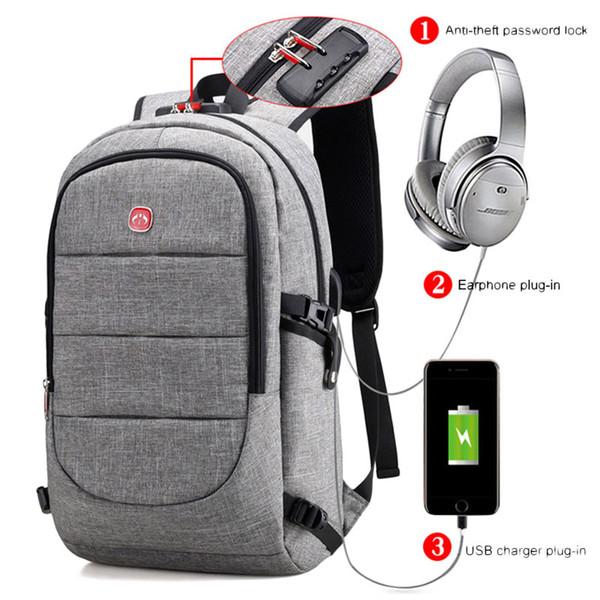 Externer USB-Lade-Rucksack-Mann-Antidiebstahl-Verschluss-Laptop-Beutel-große Schultaschen-Mann-Spielraum-Rucksäcke mit Kopfhörer-Stecker XA2199C Y1890401