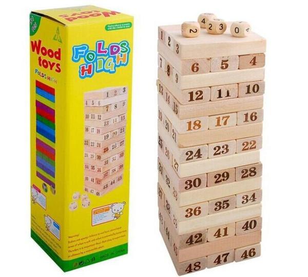 48 peças de blocos de construção montados empilhados alta camada de música de bombeamento de madeira empilhamento adulto quebra-cabeça brinquedos para crianças cubo de descompressão