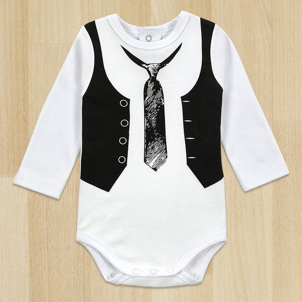 Baby Boy Gentleman Romper White Long Sleeve Baby Winter Overalls Baby Newborn Clothes Body Top Quality Retail One-Pieces