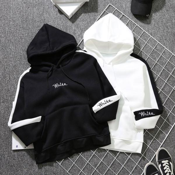 Harajuku Oversized Hoodie Damen Sweatshirts Langarm Fleece Weiß Pullover Dicke Lose Frauen Schwarz Hoodies Sweatshirt Weiblich
