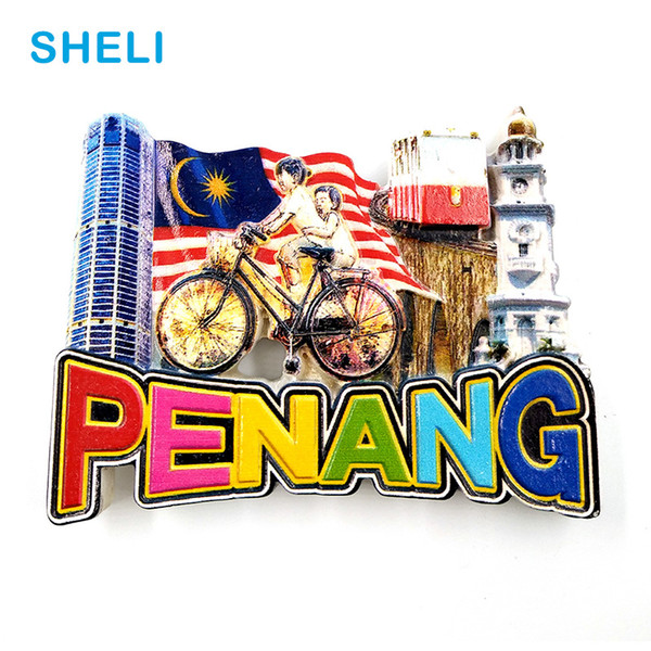 Malaysia Travel Souvenir Scenery Penang High-end Resin Fridge Magnets Gift Refrigerator Magnetic Sticker Home Decor Decoration