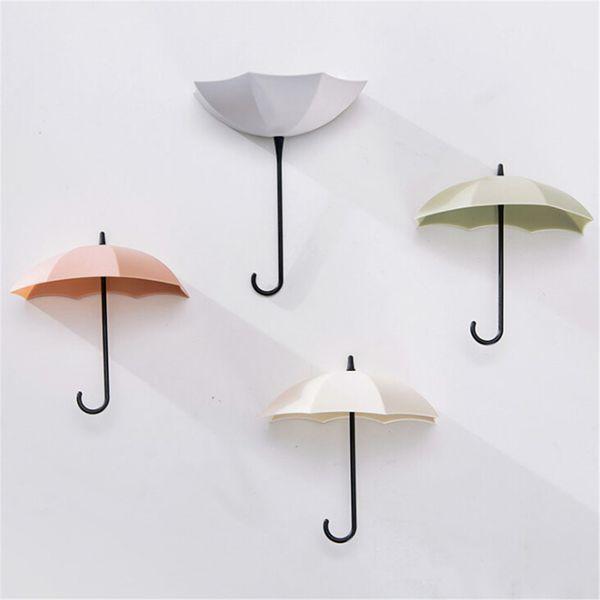 3pcs/lot Decorative Umbrella Shaped Key Hanger Rack Home Holder Wall Hook For Kitchen Bathroom Organizer Accessories