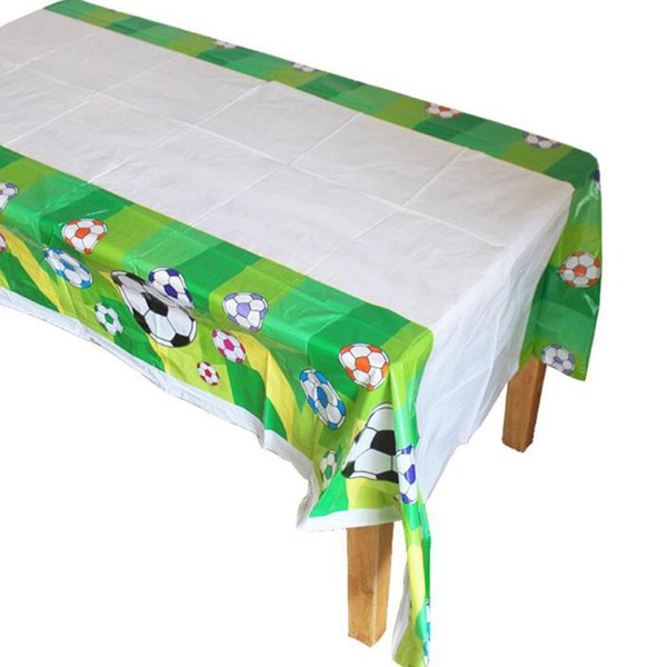 Soccer Theme Tablecover Boys Favors Party Football Theme Birthday Tablecloth Plastic Kids Decoration Supplies Free Shipping QW8572