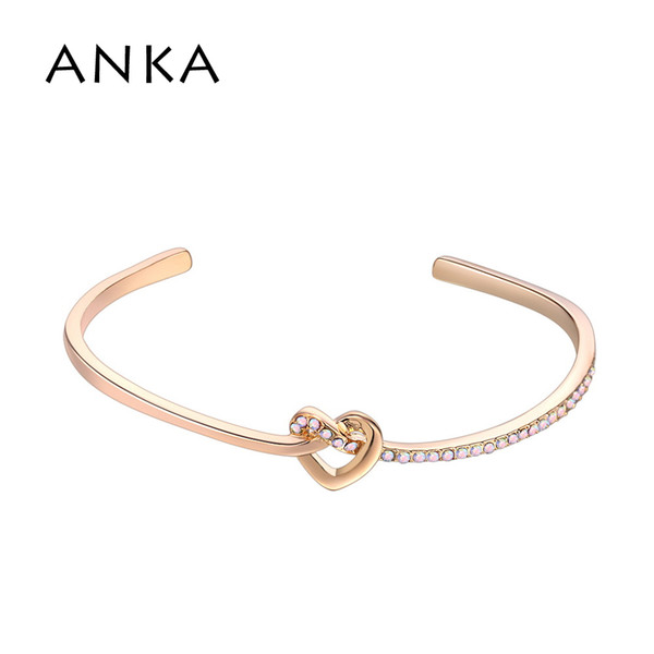 ANKA Heart Rhinestone Bracelets & Bangles For Women Jewelry Gold Color Give Girlfriend And Mom The Best Gift #133411