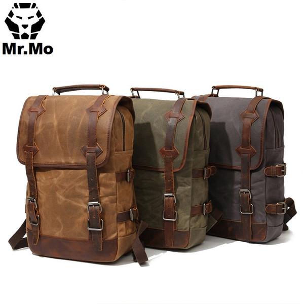 Waterproof Waxed Canvas Geniune Leather Bags Men Backpack Vintage Big Travel Bag Designers Rucksack Laptop Back pack BookBags