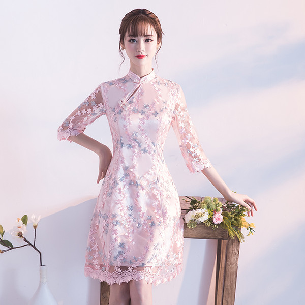 67498035c 2018 summer flower embroidery qipao silk satin traditional chinese dress  women half sleeve vestidos vintage qipao