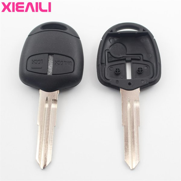 Xiaeailli 10 pcs caso de substituição 2b remoto key fob shell para mitsubishi pajero / triton / lancer / grandis / outlander com adesivo g14