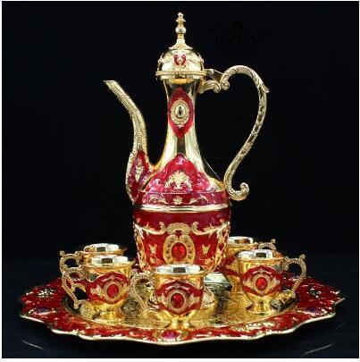Ensemble de thé en métal de zinc européen 8pcs Ensemble de café en porcelaine Ensemble de café Cafetière DinnerSaucer Ensemble CT0168