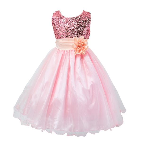 Prinzessin Mädchen Kleid 2016 Baby Mädchen Pailletten Tüll Blume Party Kleid Kleid Formale Brautkleider