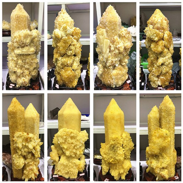 wholesale Beautiful Natural quartz crystal Yellow cluster Mineral Specimens Crystal Healing Rocks Fossils Home decoration