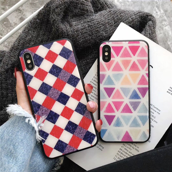 New Arrivals Korean Style Rhombus Grid Shape Glass Phone Case for iPhone X 6 7 8 Soft TPU Edge Tempered Glass Back Cover