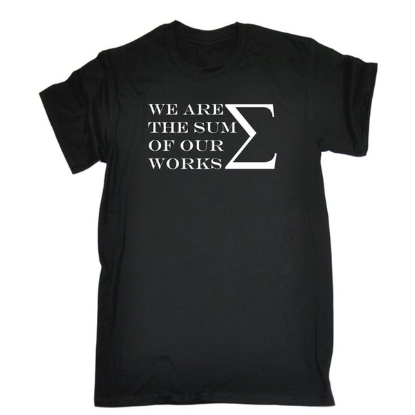 Мужская мы сумма наших собственных работ выродок ботаник смешная шутка футболка День Рождения 100% рубашки