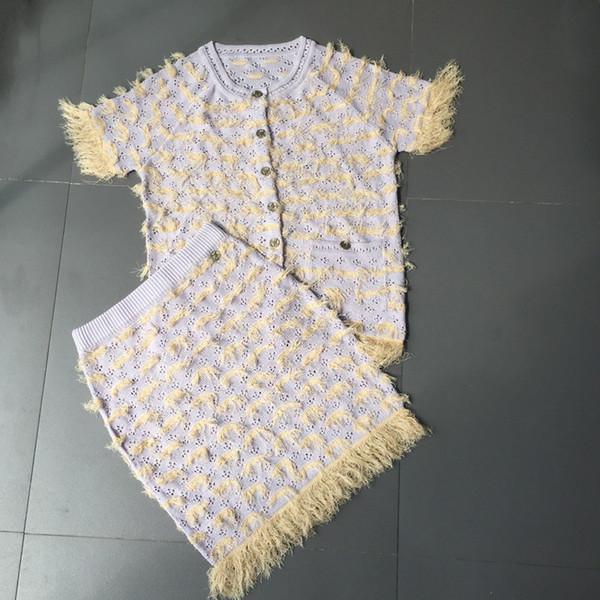 2018 дизайнер моды две части наборы светло-синий короткие рукава кардиган вязание топ и юбки бренд же стиль DH40