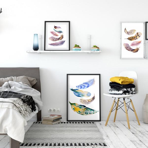 Atacado-Moderno Nórdico Aquarela Pintado Penas de Pássaros A4 Impressão Da Arte Da Lona Cartaz Da Parede Pictures Home Decorativo Pinturas Sem Quadros