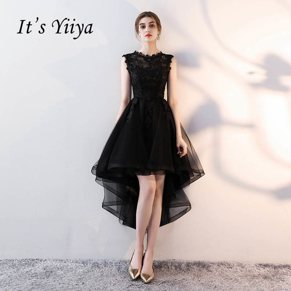 It's YiiYa Sex Lace Backless Illusion High-low Flowers Zipper Tea Length Formal Dresses Party Full Dress Vintage Porm Gown LX094 C18111601