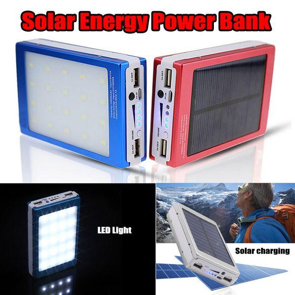 Banco de energía solar 20000 mAh + Batería recargable portátil para cargador de copia de seguridad de luz de camping LED para celulares