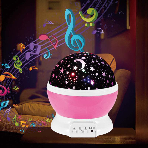 New Kind Room Novelty Night Light with Music Playing Projector Lamp Rotary Flashing Starry Star Moon Sky Star Projector for Kids