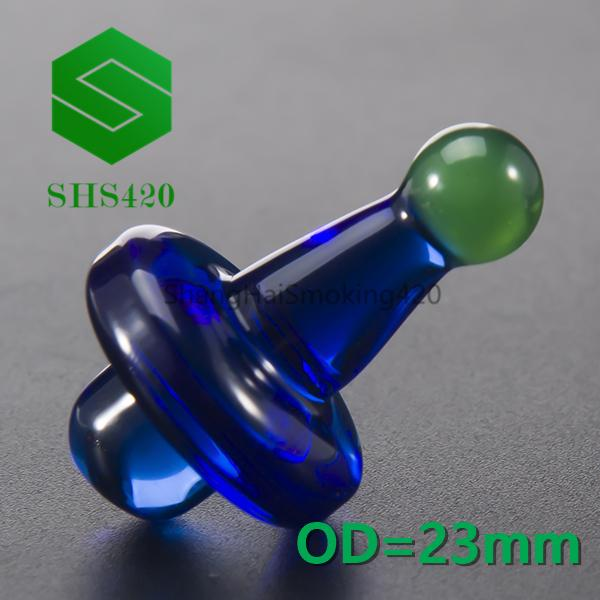 Colored Glass Bubble Carb Cap L=33.5mm OD=23mm With Ball On Top For Quartz Banger Nail Quartz Banger Nail Oil Rigs