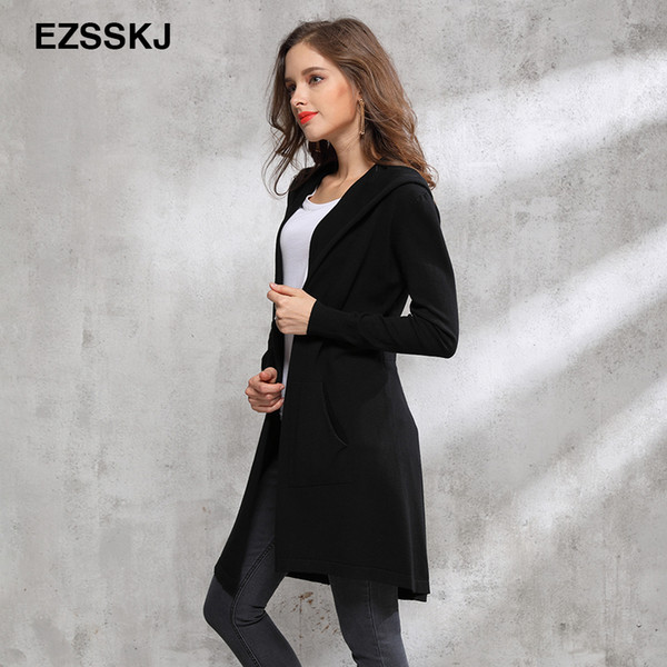 2018 Autumn winter long black hooded jacket coat sweater Cardigan women Outwear long sleeve knitted trench female coat femme L18100801