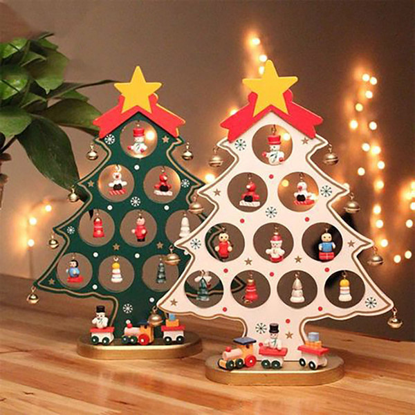 Green Red White Diy Wooden Christmas Ornaments Festival Party Xmas Tree Table Desk Decoration Kids Gift Dec433 Christmas Decor Sale Christmas Decor