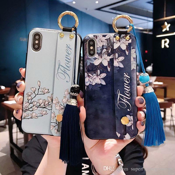 Phone cases For iPhoneXS MAX Wristband Ring Buckle Stand Phone Case with Diagonal Strap or Tassels for iphone 6/7/8/X