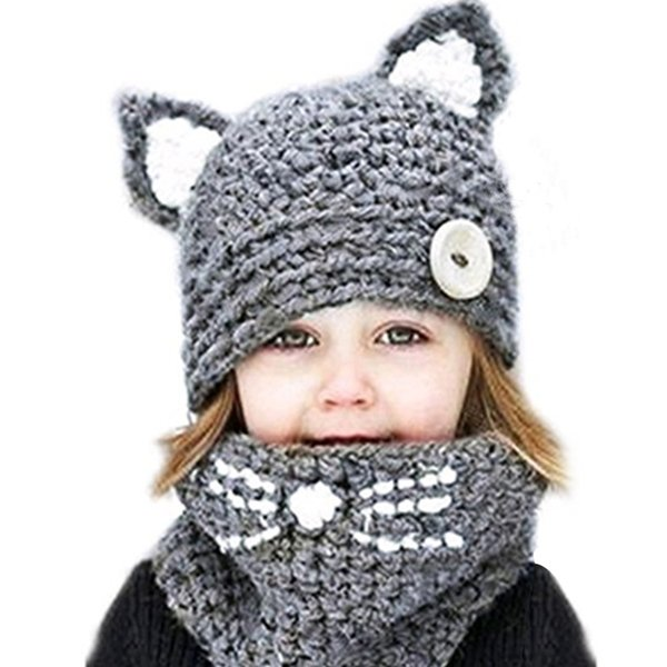 2pcs Cat Ear Hats Scarf Set For Kids 2018 Winter Cotton Knitted Cap Set Baby Boys Girls Beanies Neck Warmer Scarves Beanies