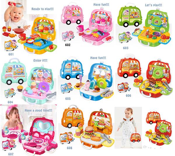 Un ensemble de jouets pour enfants vente voiture glace van vanité hot-dog Rôle Jouer des enfants faire semblant jouets cadeaux garçons filles cas