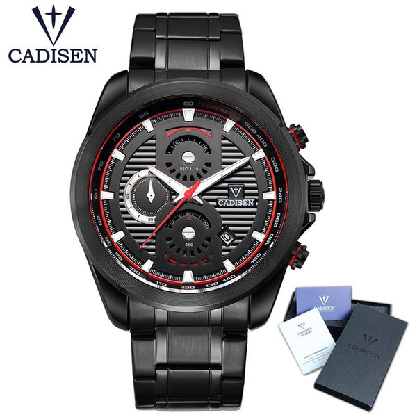 CADISEN Mens Top Watch Casual Fashion Sport chronograph date window analogue quartz-watch waterproof with stainless steel strap