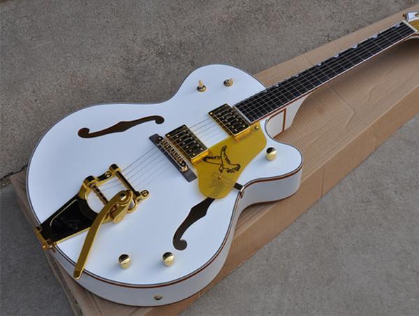 Tuners coreano Ebony Fingerboard Venda Quente Custom Shop Branco Falcon Oco Corpo 6120 Guitarra Elétrica Jazz Hardware de Ligação Dourada