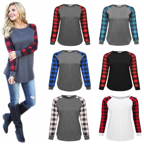 top popular Plaid Panel Raglan Long Sleeve Women luxuryT Shirt Autumn Winter Plus Size Casual Top Tees Ladies Pullover Round Neck Shirt sweatshirt S-5XL 2021