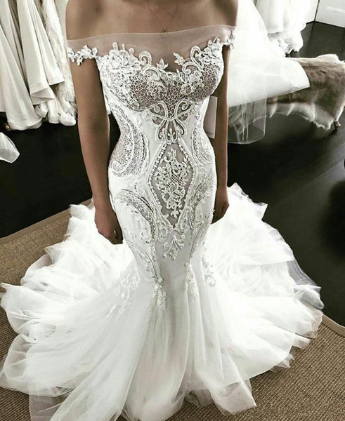 Mermaid 2019 Wedding Dresses Off The Shoulder Sweep Train Lace Applqiues Illusion Sexy Beach Bridal Gowns Tulle Sweep Train Wedding Dress
