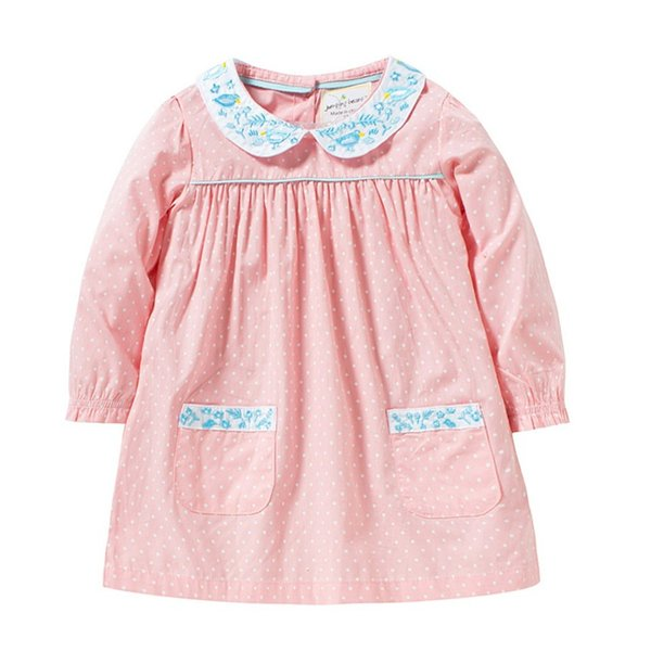 girl kid clothing dress 100% cotton pet pan collar with flower embroidery long sleeve polka dots print girl dress Lolita girl elegant dress