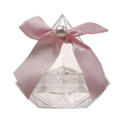 New Transparent Diamond Shaped Box with Beautiful Bowknot Wedding Party Favor Boxes Plastic Candy Package Gift Boxes